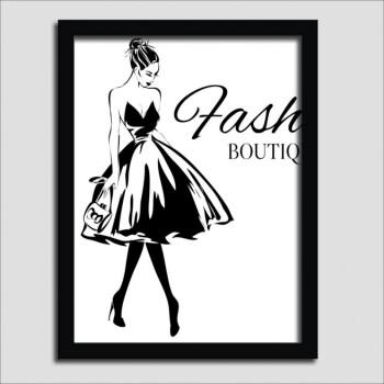 女装店挂画手绘黑白个性创意服装店装饰画海报时尚背景墙壁画框画 3
