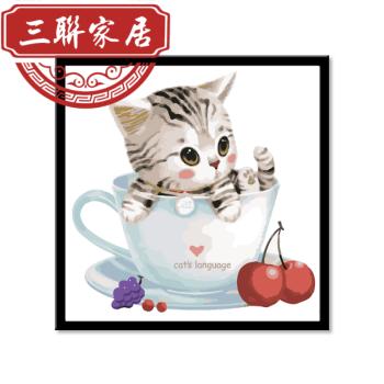 diy数字油画哆啦a梦卡通动漫儿童情侣手绘填色装饰画机器猫表情包 小