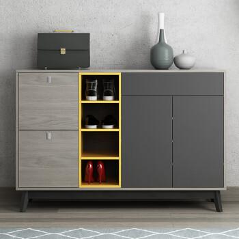 北欧风格鞋柜隔断实木简约现代门厅柜翻斗玄关柜组装大容量储物柜 1.