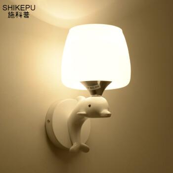 现代创意壁灯玻璃LED温馨简约客厅过道卧室床头房海豚壁灯 单头海豚+5瓦led灯泡