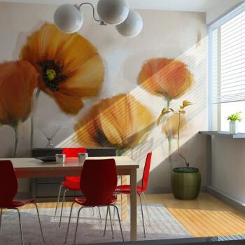 简约现代手绘花卉壁纸客厅书房床头温馨壁纸北欧风格抽象田园壁画