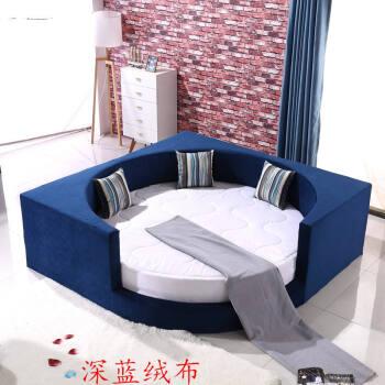 圆床双人床简约主题圆形榻榻米软床双人床布艺方圆圆.