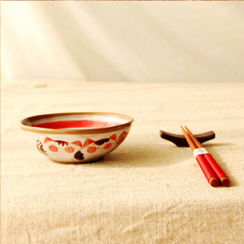 陶瓷盘子 复古日式手绘陶瓷碗碟餐具可爱猫咪盘子零食