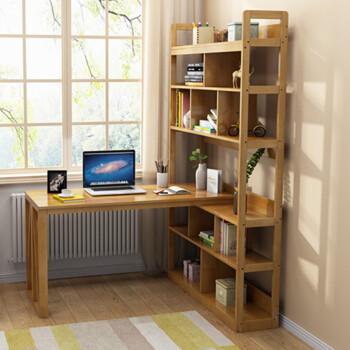 全实木书桌书架一体现代中式转角电脑桌家用办公学习桌带书架书柜组合