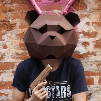 纸无限创意泰迪熊头套面具动物纸模diy材料化妆舞会表演抖音道具 全