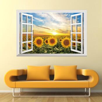 3d立体墙贴纸风景假窗户客厅背景墙卧室自粘壁纸墙纸创意装饰贴画 dlx