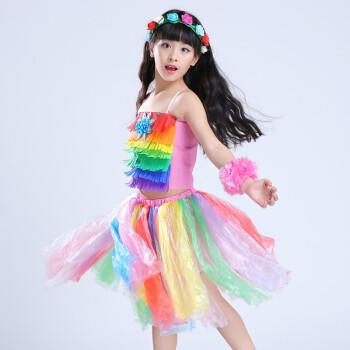 六一服装儿童时装秀制作蝙蝠侠创意幼儿园舞台走秀演出服 七彩 100cm