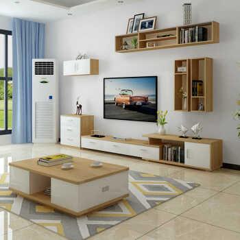 柜风格电视柜背景个性定制白色吊柜搁板欧式墙上 整套电视柜+茶几深胡
