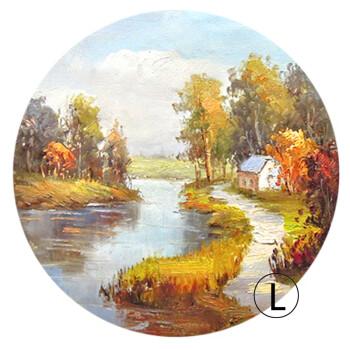 手绘圆形风景油画欧美客厅田园写生装饰画卧室床头玄关意境温馨画