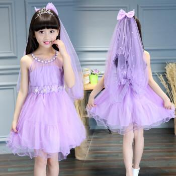 女童公主连衣裙子6儿童装7小女孩8夏季9韩版4上衣服3-12岁10 浅紫色