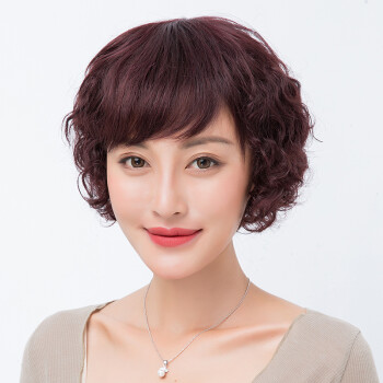 假发女短发真人发丝圆脸自然造型真发全头套遮白发减龄修脸妈妈自然图片