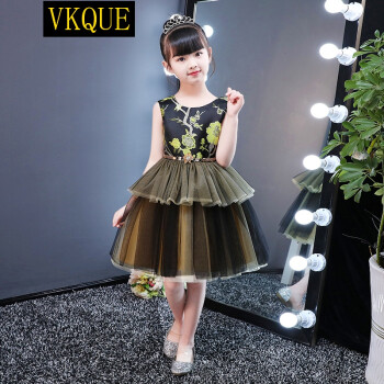 vkque 女童婚纱礼服公主裙儿童主持唱歌竞赛演出服学生团体走秀蓬蓬裙图片