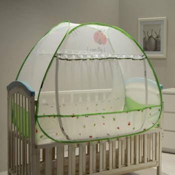 美朵嘉 便携免安装卡通婴儿蚊帐蒙古包可折叠新生儿宝宝bb床有底 绿色 65*115cm