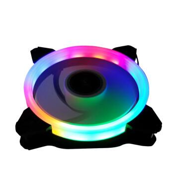 富善能电脑机箱散热风扇极光静音发光风扇12CM机箱LED风扇12VRGB风扇 12cm双光圈彩色