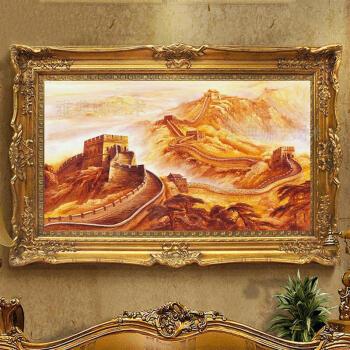 画油画会所万里长城靠山家居现代风景画中堂八尺酒店壁画客厅壁纸真迹