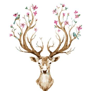 diy数字油画客厅卧室风景动物大幅填色手绘装饰画40*50鹿系列 梅花鹿2
