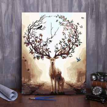 油画客厅装饰画数字油画冰鹿墙画手绘床头艺术风景花卉手工背景别墅