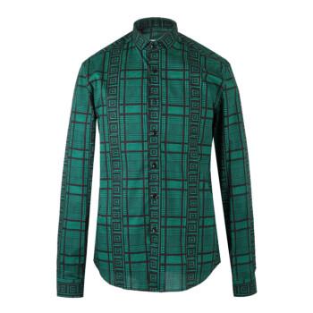 VERSACE COLLECTION 范思哲 奢侈品 18秋冬新款 男士绿色棉氨纶长袖格纹衬衫 V300198I VT01943 V7053 40码
