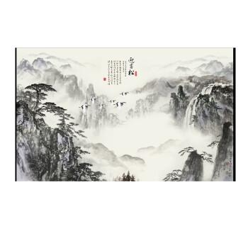 新中式手绘意境电视背景墙壁纸水墨画山水迎客松墙纸卧室沙发墙布
