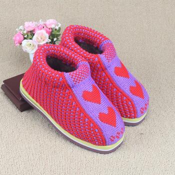 手工编织毛线棉鞋 居家保暖防滑 手工毛线鞋 男女冬季棉靴 01 40/41适