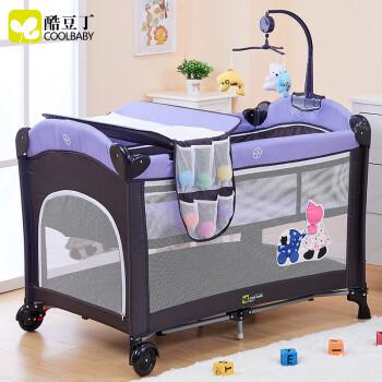 酷豆丁(coolbaby)婴儿床非实木  多功能可折叠游戏床便携式bb  床欧式宝宝床儿童 梦幻紫 送尿布台+蚊帐+音乐玩具架+摇摆器