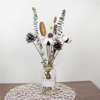 尤加利叶干花花束带花瓶ins小清新摆件家居客厅拍照道具装饰摆设礼物