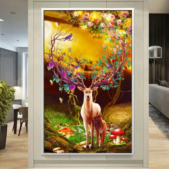 2018新款线绣十字绣发财鹿客厅大幅竖版风景玄关过道走廊刺绣满绣 中