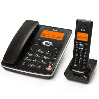 TCL D60 数字无绳电话机中文菜单橙色背光家用办公座机一拖一电话子母机