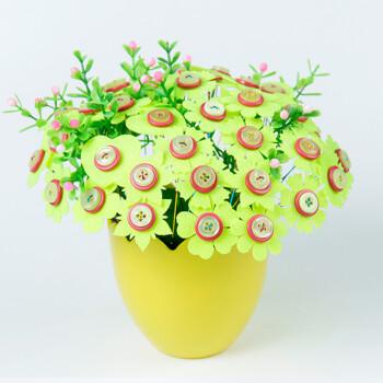 礼物儿童纽扣花束手工diy材料包益智创意制作扣子家居装饰画 浅绿色