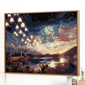 diy数字油画风景客厅动漫手工填充填色手绘油彩装饰挂画 抖音 烟火 4