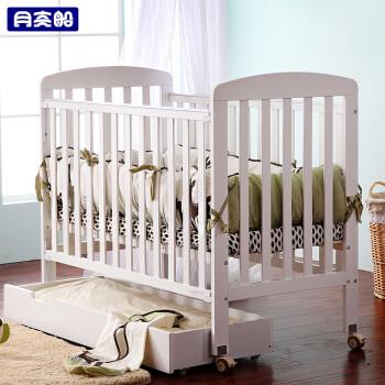 月亮船欧式多功能婴儿床宝宝床新生儿床实木BB床松木游戏床可调高低档月之安 白色经典版
