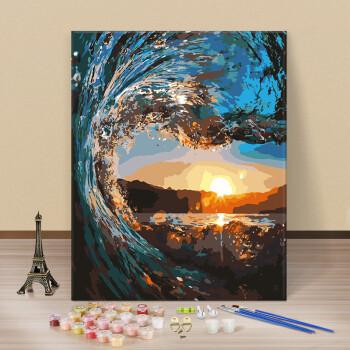 diy数字油画油彩画 客厅海边风景花卉手绘数码填色装饰画海边小花 a