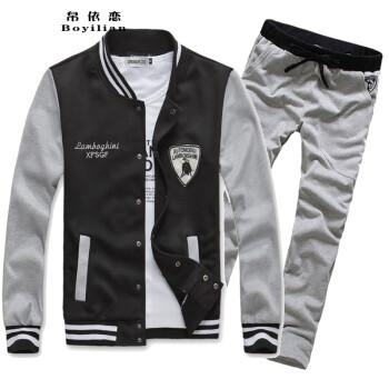 闲休闲开衫立领卫衣卫裤男士运动服 黑衣配灰裤 M