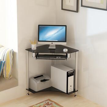 墙角台式电脑桌家用小户型转角经济型三角位拐角电脑台 黑色边长60 基
