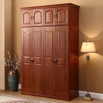 实木衣柜推拉门 简约现代橡胶木衣橱3门4门中式 卧室家具木质衣柜