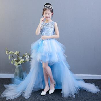 粉色公主裙女童蓬蓬纱儿童模特走秀拖尾晚礼服主持人钢琴演出服夏 天