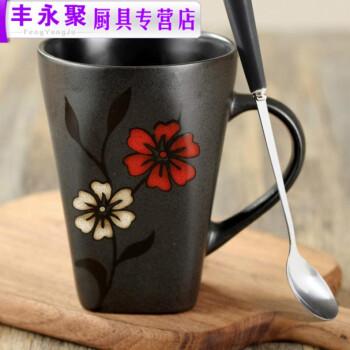 日式和风格调手绘花朵陶瓷杯子马克杯水杯咖啡杯茶杯勺 安士杯-樱花