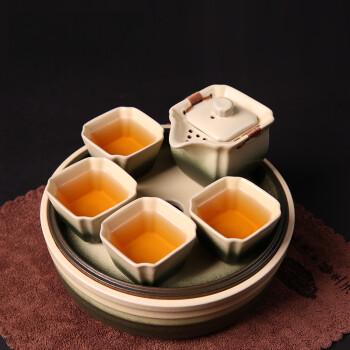 言艺 茶具套装古陶办公茶具带圆盘《四方》套组