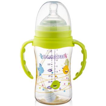 贝儿欣(BABISIL)奶瓶奶嘴 随流系列宽口径PPSU吸管奶瓶耐摔可旋转手柄220ml 粉绿BS5036