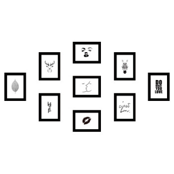 【加宽加厚】北欧装饰画9个5寸7寸10寸相框组合九宫格9宫格照片墙图片