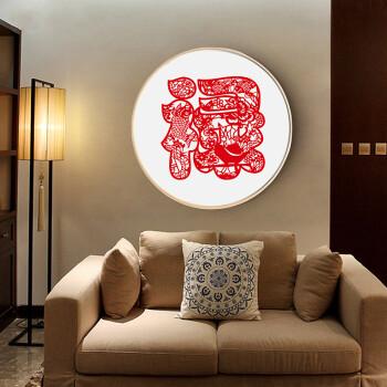 乐逸实木圆形装饰画玄关壁画过道卧室新中式客厅水墨国画挂画 禄字dy