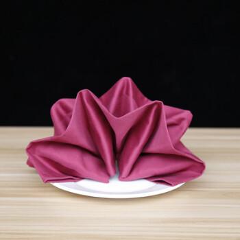 棉口布酒店西餐厅餐巾布折花口布打杯擦杯布不掉毛家用方巾定制 紫红