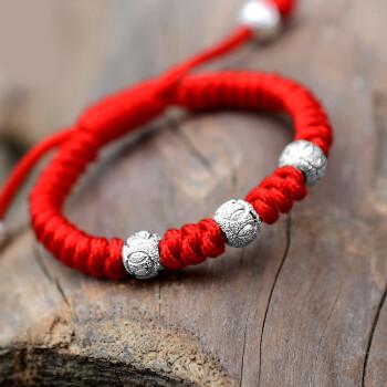 宝宝红绳925银磨砂珠bb儿童手链编织中国结传统手绳 红绳 925银