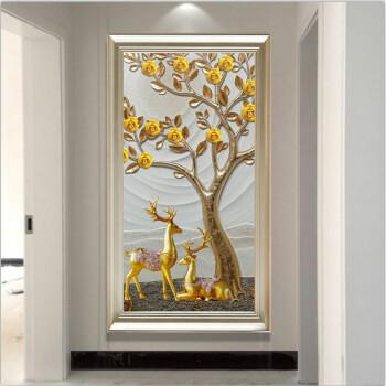 简欧玄关装饰画竖版过道简约现代走廊客餐厅壁画单幅挂画 59号-发财树图片