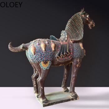 仿古唐三彩陶瓷马玄关古艺术品收藏贵重礼品家居客厅装饰摆件 一对马图片