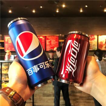 创意可乐雪碧易拉罐吸管杯不锈钢保温杯水瓶学生男水