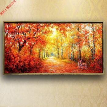 手绘油画欧式满地黄金大道发财树风景装饰画招财麋鹿客厅横幅挂画