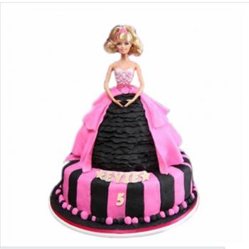 芭比迷糊娃娃蛋糕创意蛋糕配送 兰州成都德州