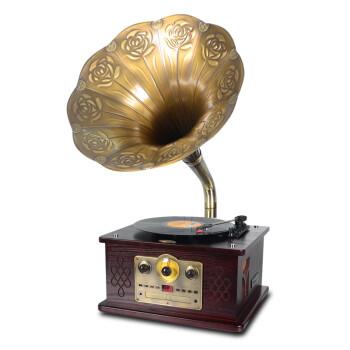 燊乐(shenle) 蓝牙仿古留声机 黑胶唱片机LP电唱机 收音机CD、USB播放蓝牙音响 带蓝牙红木色留声机