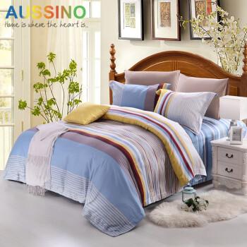 Aussino澳西奴 全棉缎纹四件套 纯棉床上用品 被套4件套 时空邂逅 1.5米床-适用被子200*230或210*230
